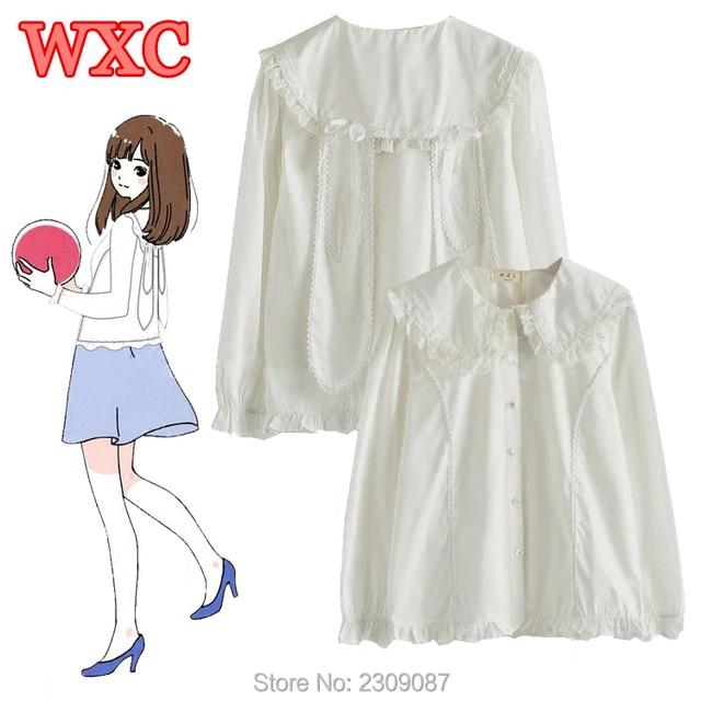Sweet Women Shirt Kawaii Japanese Peter Pan Collar Lace Blouse With Rabbit  Ears Lolita Soft Sister White Shirt Harajuku Tops WXC 31461d8ec