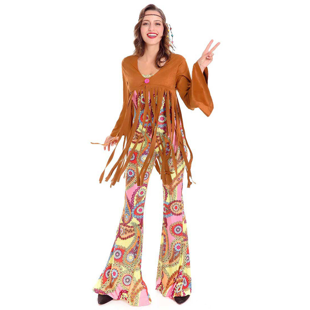 ladies hippie costume adult 60s 70s tassel hippy fringed