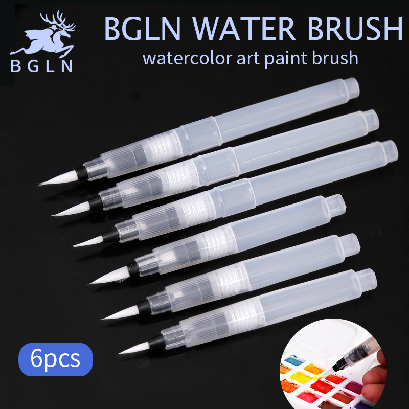 Bgln 6Pcs/set Large Capacity Water Brush Soft Watercolor Art Paint Brush Nylon Hair Painting Brush For Calligraphy Pen