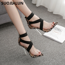 SUOJIALUN 2019 New Women Summer Sandals Open toePrints snake shoes high heels pumps Ladies Party Stretch Fabric Shoes