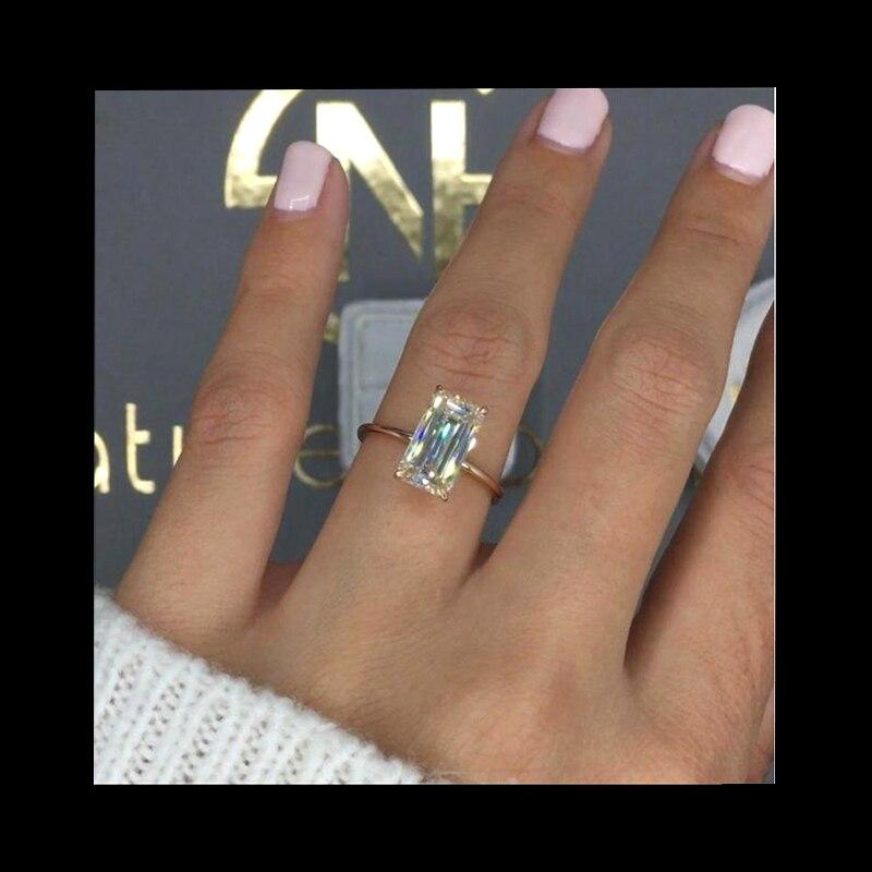 Luxe 3ct VVS1 Moissanite anneau solide 18K or Rose bague de fiançailles émeraude coupe laboratoire cultivé diamant bague de mariage pour les femmes