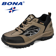 купить BONA New Classics Style Men Hiking Shoes Action Leather Men Sport Shoes Outdoor Jogging Shoes Comfortable Fast Free Shipping дешево