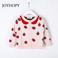 JOYHOPY Girls Jacket Fashion Strawberry Knitting Baby Girl Coat 2018 Autumn Spring Kids Long Sleeve Outerwear