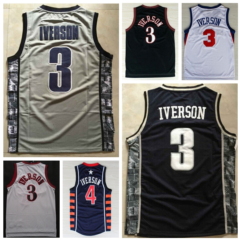 new concept d0117 23030 Mens #3 Retro Allen Iverson Jersey Throwback Stitched ...