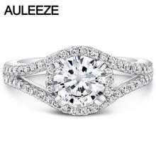 Solid 14K White Gold 1CT Moissanites Diamond Ring Split Shank Halo Lab Grown Diamond Wedding Engagement
