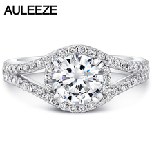 Solid 14K White Gold 1CT Moissanites Diamond Ring Split Shank Halo Lab Grown Diamond Wedding Engagement Rings For Women Jewelry