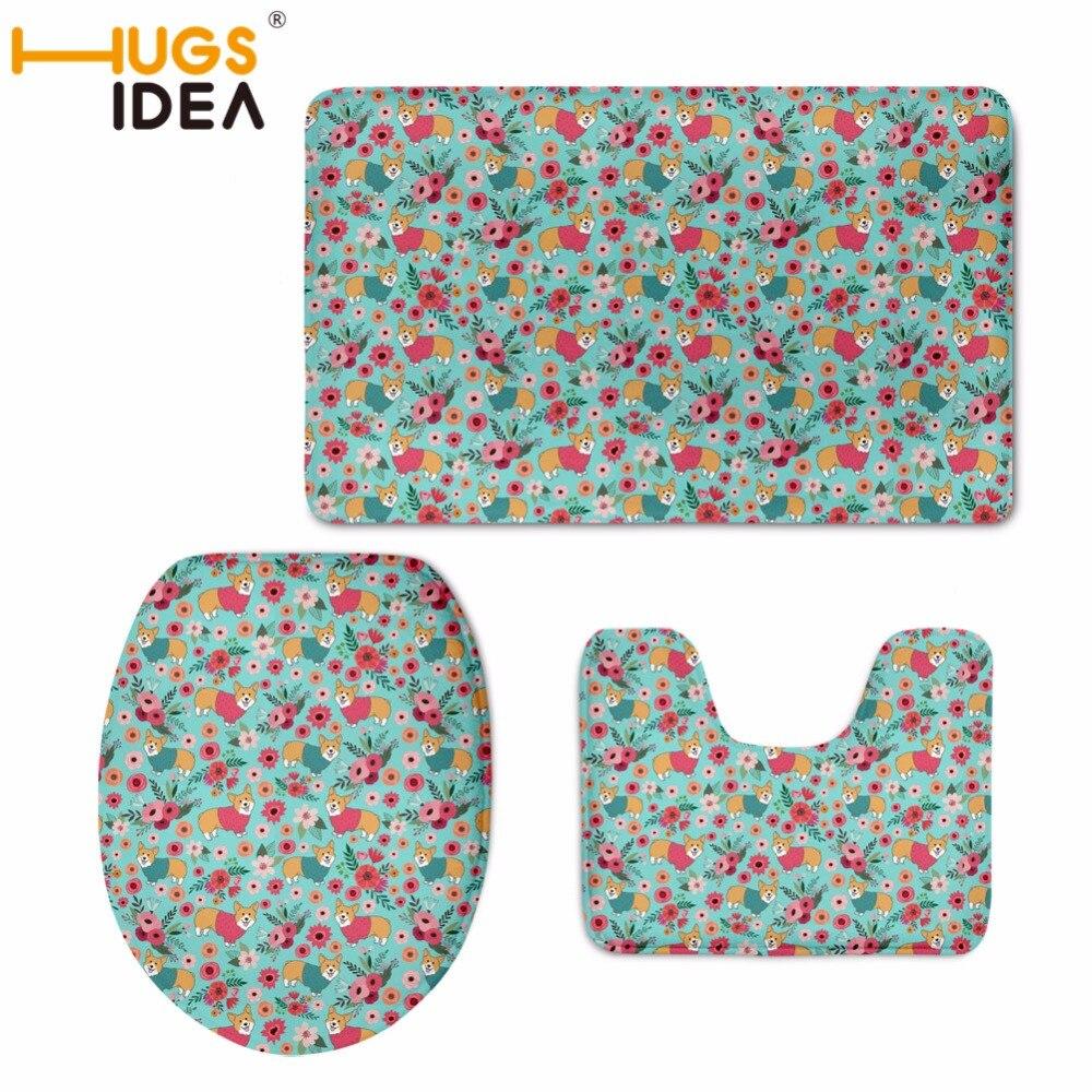 HUGSIDEA Corgi s cvetjem natisnjenim straniščnim sedežnim pokrovom - Gospodinjski izdelki