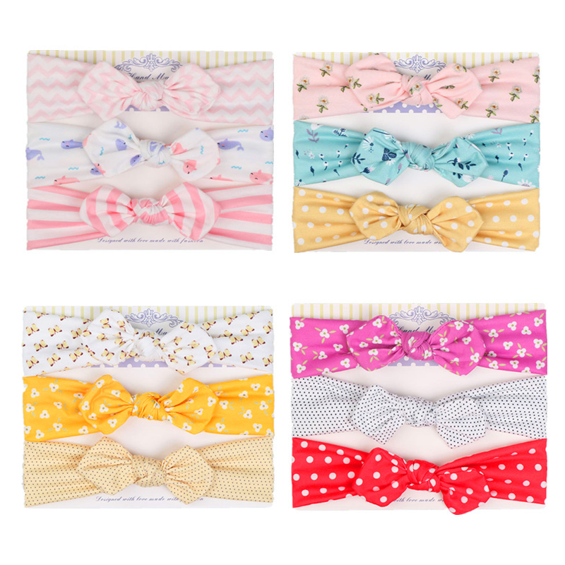 3Pcs Baby Headband Girls Hair Accessories Floral Bowknot Baby Hair Band Cotton Flamingo Infant Headwear Kids Girl Headbands 15pcs lot stretch elastic tutu headbands diy headband hair accessories 1 5 inch crochet headband free shipping 33colors in stock