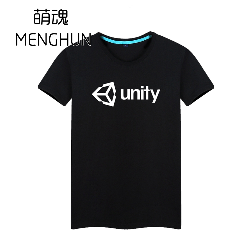 GAME fans t shirts PC platform game Engine Unity logo printing t shirts Geek fans t shirt game fans summer image