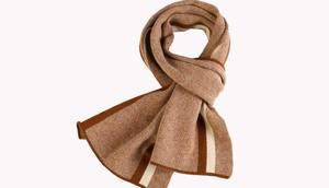 Image 1 - Winter striped wool+cashmere soft scarf for men