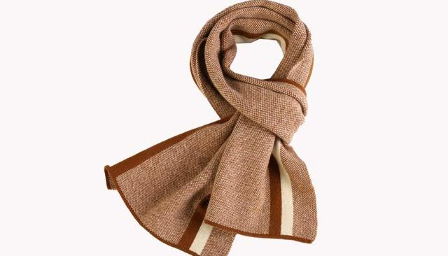 Winter striped wool+cashmere soft scarf for men