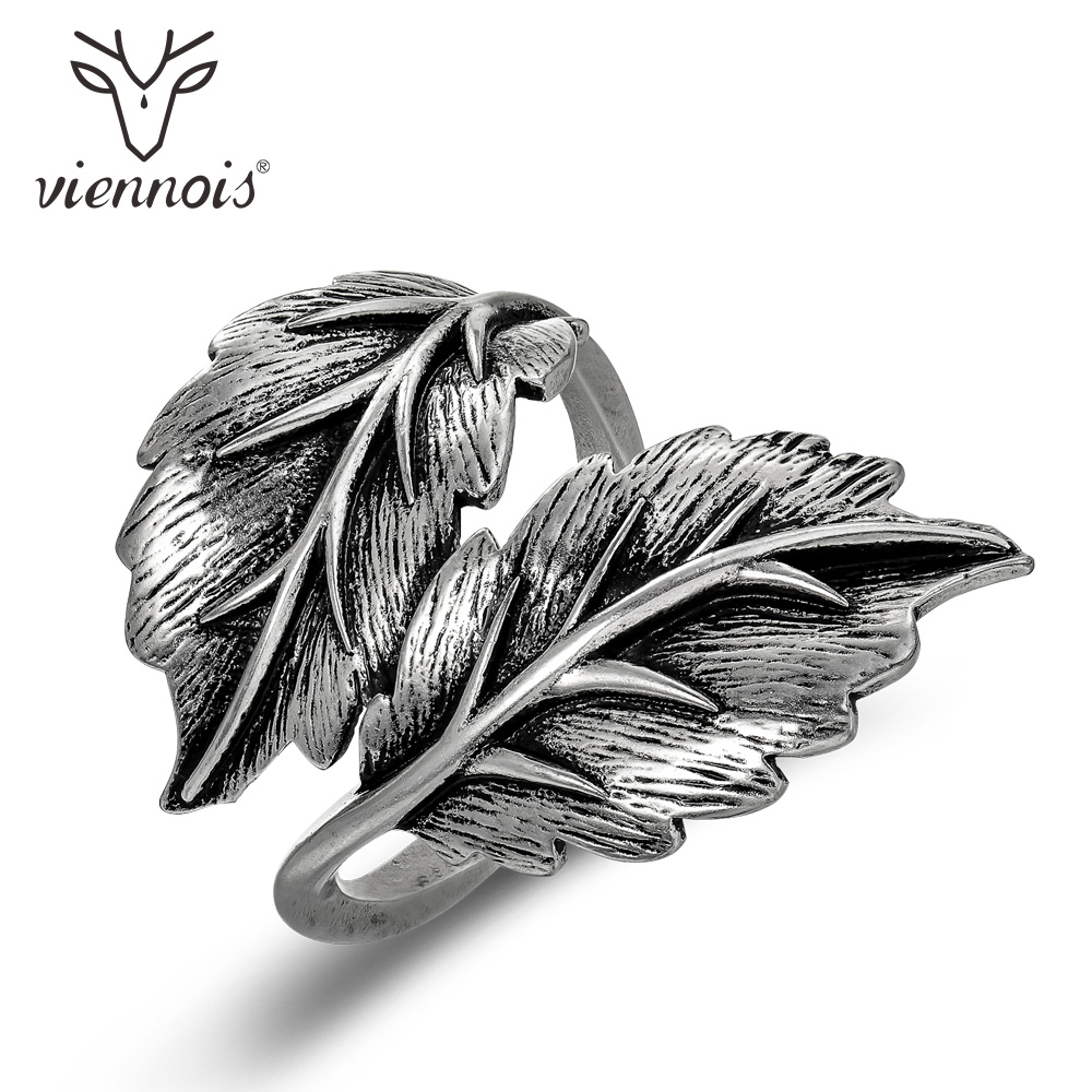 Viennois Vintage Silver Color Adjustable Women Finger Rings Twisted Leaf Retro Style Metal Geometric Rings Fashion Jewelry a suit of geometric leaf cuff rings