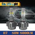 1 Pair H7 80W 8000LM LED Bulb 6000K White High Power Car Headlight Headlamp Fog Daytime Running Lamp DRL
