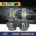 1 Pair H7 80W 8000LM LED Bulb 6000K White High Power Car Headlight Headlamp Fog Daytime Running Lamp DRL