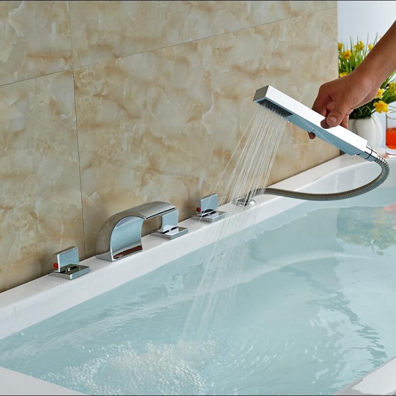 Polished Chrome Bathroom Bathtub Faucet Tub Filler With Handshower