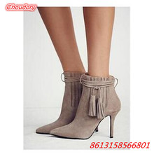New High Heels Women Ankle Boots Pointed Toe Fashion Sexy Pump Boots Women Fringe Thin Heels Spring Autumn Comfort Female Shoes