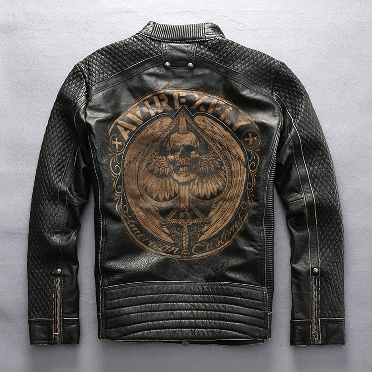 AVIREXFLY Male Leather Jacket 2016 New arrival 100% Real Cowskin Embroidery skulls Motorcycle Jacket Winter Coats