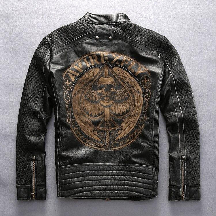 AVIREXFLY mâle en cuir veste 2016 nouveauté 100% réel peau de vache broderie crânes moto veste manteaux d'hiver