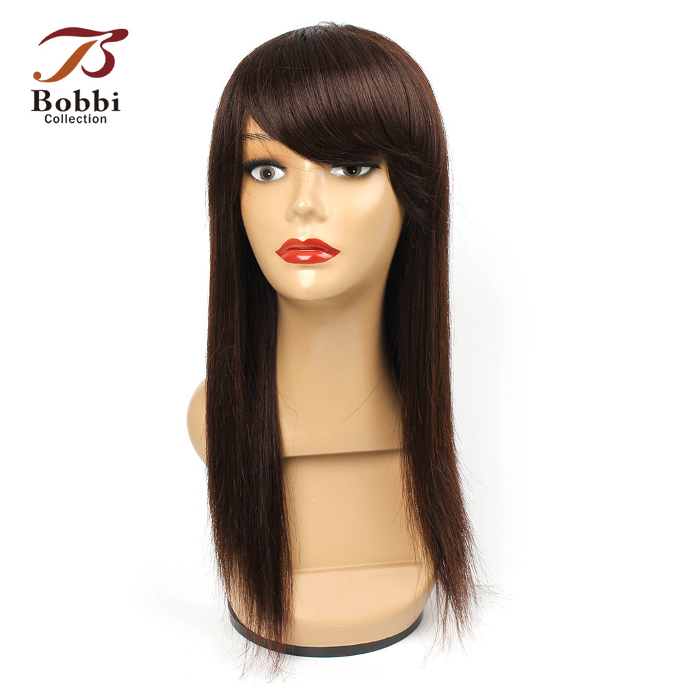 Bobbi Collection Straight Remy Human Hair Wig With Bang Lace Crown Color 4 Dark Brown 16 Inch Machine Made Cap Adjustable Straps