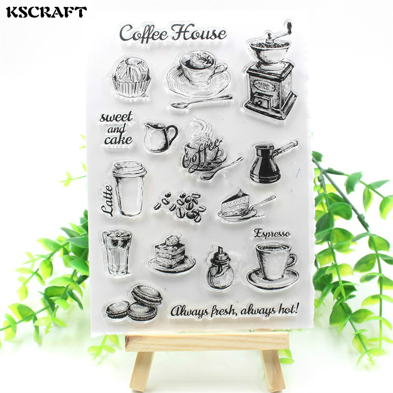 KSCRAFT Coffee Shop Transparent Clear Silicone Stamp/Seal for DIY scrapbooking/photo album Decorative clear stamp sheets