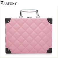 MARFUNY Brand Makeup Bag Cosmetic Box Female Diamond Lattice Makeup Case Pouch Professional Cosmetic Bags Women