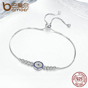 Image 3 - BAMOER 925 Sterling Silver Lucky Round Blue Eyes Power Tennis Bracelet Pave CZ Adjustable Link Chain Bracelets Jewelry SCB006