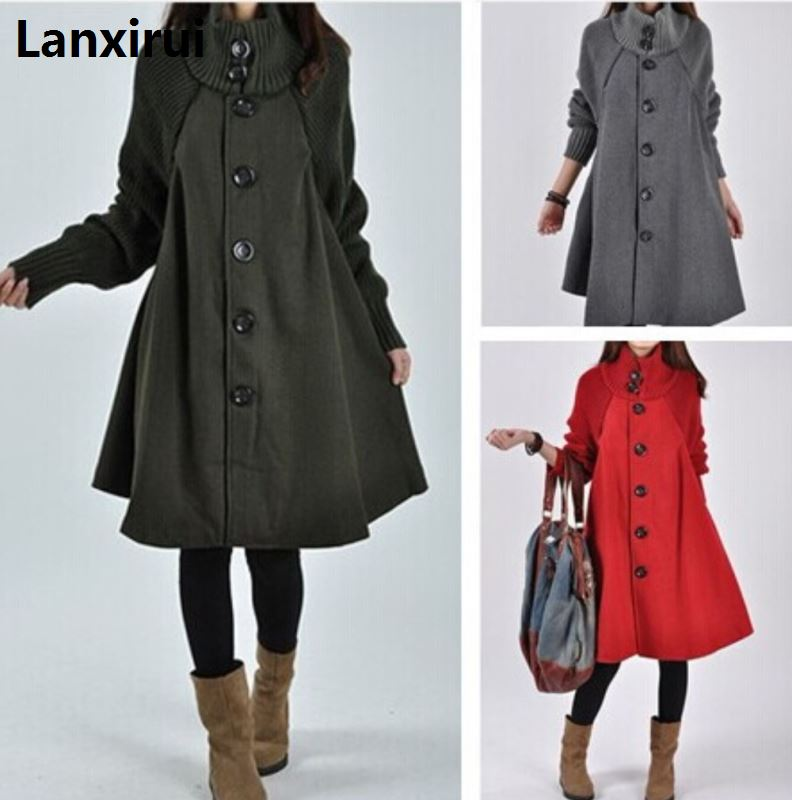 Image 4 - Woman Single Breasted  Long Sleeve Woolen Coats Lady Casual A  Line Long Coats Winter Warm OutwearWool & Blends   -