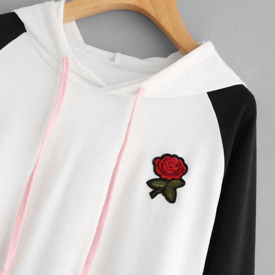أزياء الخريف الشتاء هوديس للنساء البلوز روز التطريز طويلة الأكمام البلوز قمم بلوزة الإناث HX0723