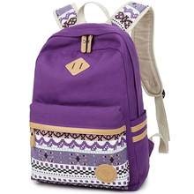 Women Backpack for School Teenagers Girls Vintage Stylish Ethnic School Bag Ladies Backpack Female Purple Back Pack 511