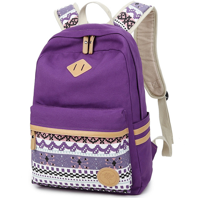 dfcecc9513 US $19.5 50% OFF|Women Backpack for School Teenagers Girls Vintage Stylish  Ethnic School Bag Ladies Backpack Female Purple Back Pack 511-in Backpacks  ...