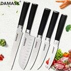 DAMASK New Japanese Chef Knife 3Cr13mov Blade Stainless Steel Knives Fruit Utility Santoku Kitcken Knife Set Cooking Tools Sale