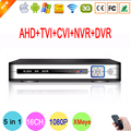 1080 P 2MP Câmera de Vigilância Hi3521A Cor Prata Branco 16 Canal 16CH 5 em 1 Híbrido NVR TVI AHD CCTV DVR Frete grátis
