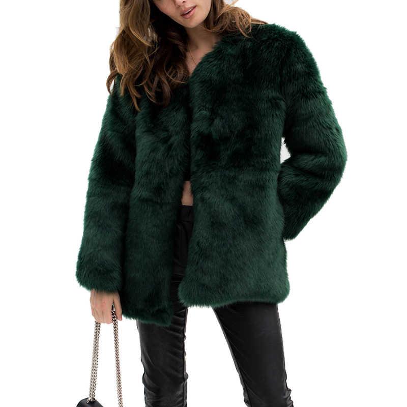 Göz Alıcı Sarı Faux Kürk Palto Ceketler Kalınlaşmak sıcak Kadın Kış Ceket Ceket Moda Giyim Kadınlar için Bayan Paltolar