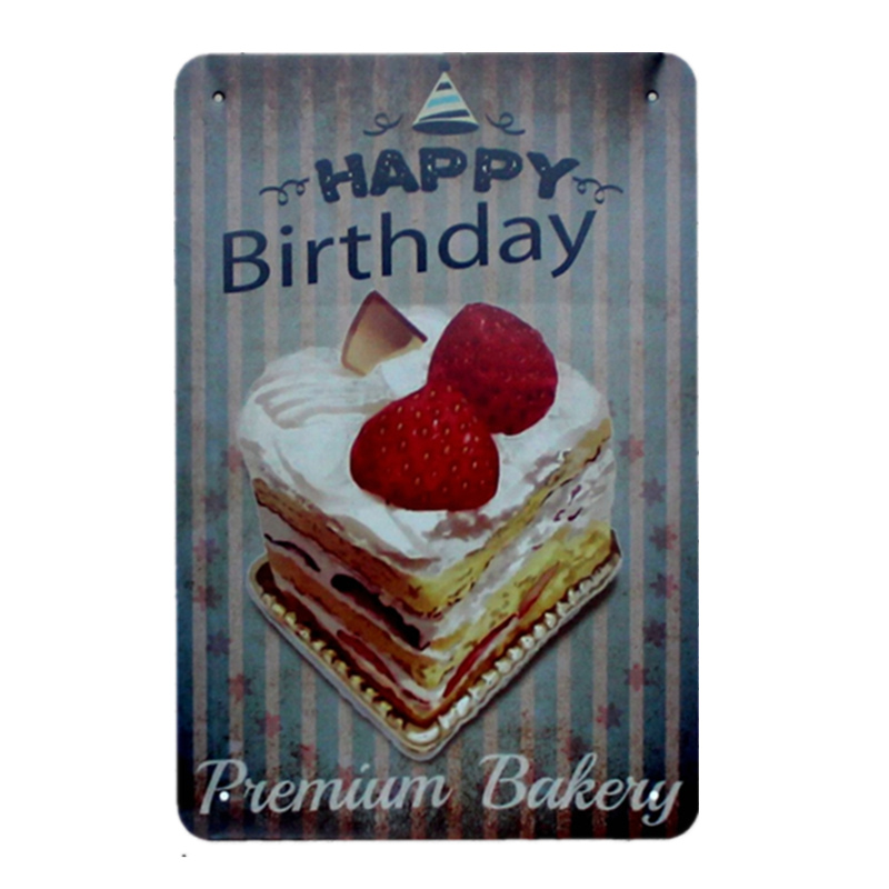 Happy Birthday Cake Delicious Bakery Food Metal Tin Signs For Bar