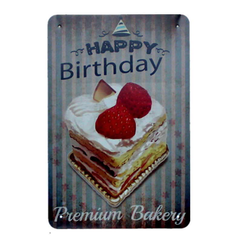 Enjoyable Happy Birthday Cake Delicious Bakery Food Metal Tin Signs For Bar Funny Birthday Cards Online Kookostrdamsfinfo