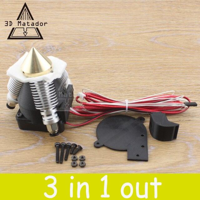 DIY Diamond 3D Экструдера Принтер Hotend V6 радиатор 3 В 1 ИЗ Латуни Многоцветный Насадка для 1.75/0.4 мм Reprap Prusa I3 полный комплект