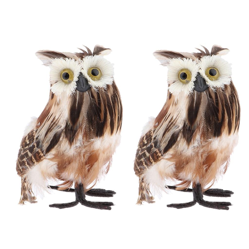 Set of 2 Mini Artificial Brown Owls, Furry Realistic Imitation Taxidermy Home Garden Desk Decoration