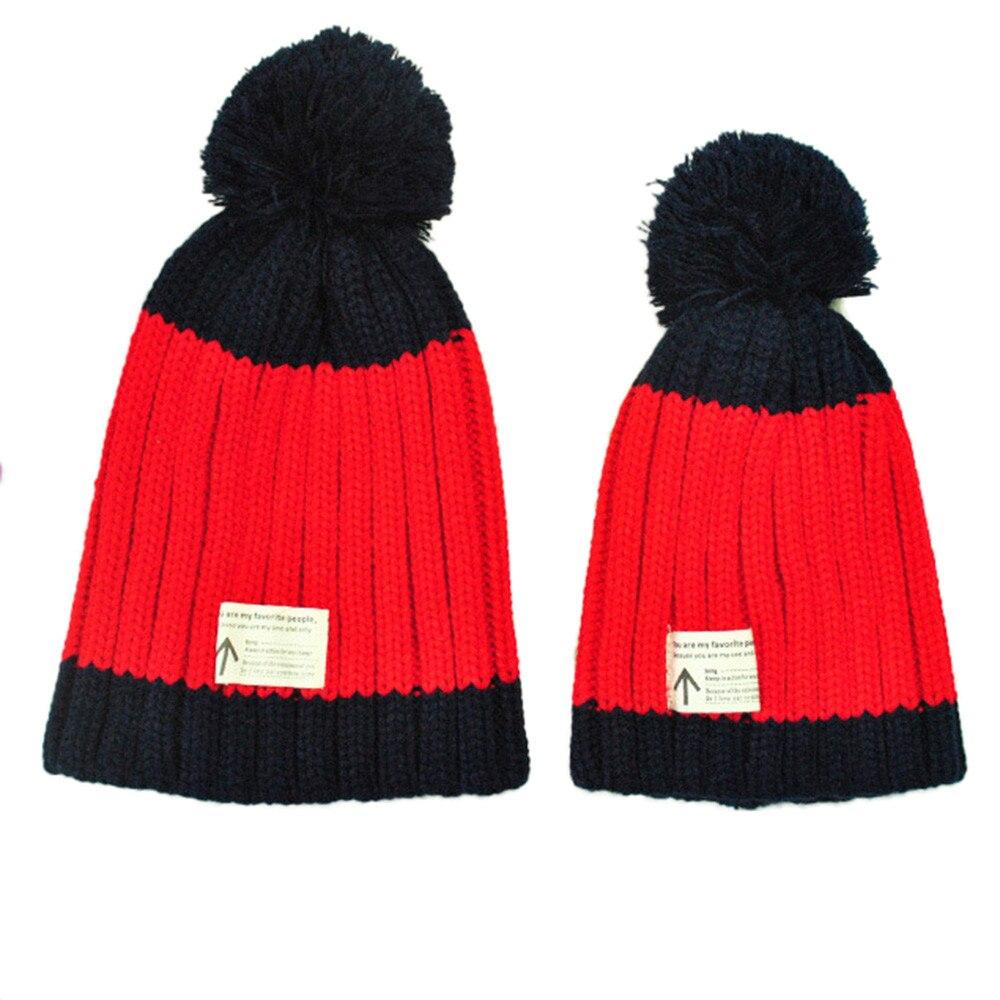 2 Pcs 2016 Hiver Chaud Vente De Mode Maman Et Bébé Chapeaux hiver Tricot  Garder Chapeau Chaud Beanie Cap Chapeau Enfant Bonnet Femme ccd1e68d0f3