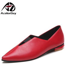 AD AcolorDay New Arrival Elegant Red Ladies Shoes 2017 Women Sexy Cheap Ballet Shoes Woman Flats Women Shoes Free Shipping