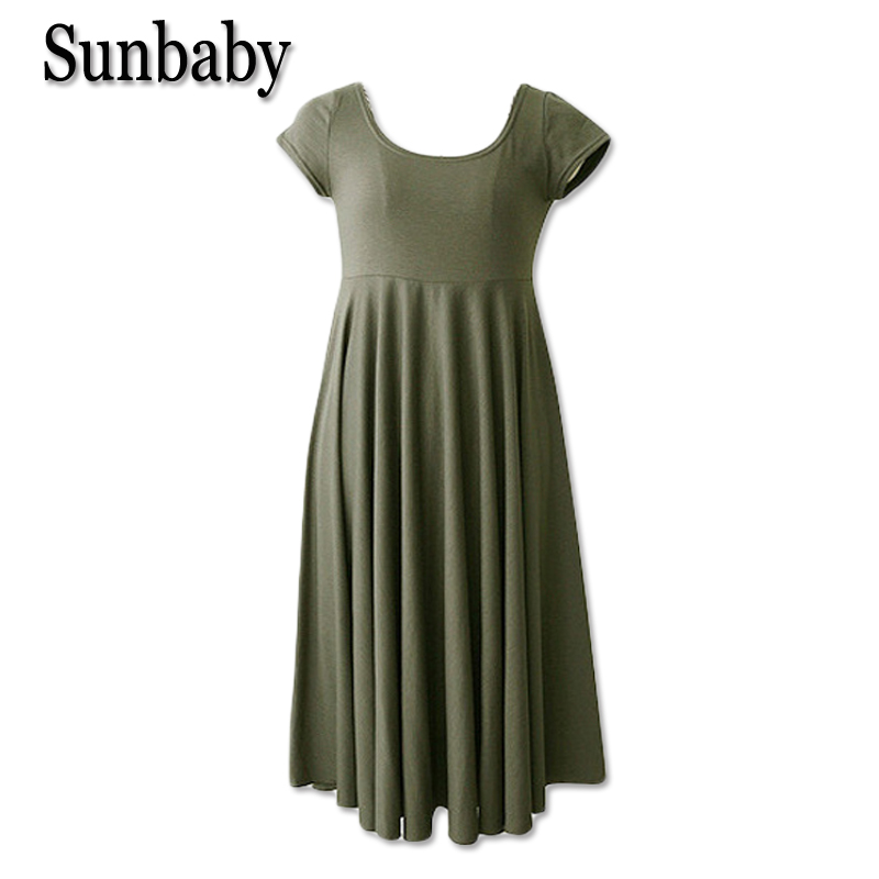 Sunbaby Summer Korean Fashion maternity clothes Casual pregnancy dress Short sleeve A line dress