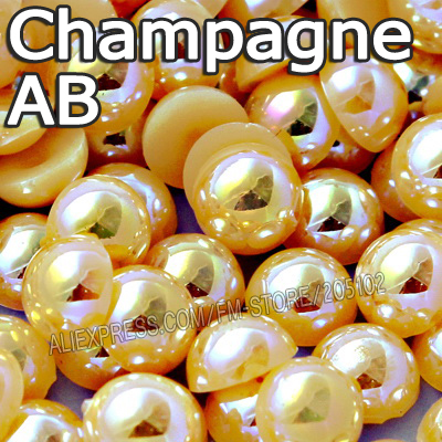 Champagne AB Half Round bead Mix Sizes 2mm 3mm 4mm 5mm 6mm 8 10 12mm imitation ABS Flat back Pearl to DIY Nail jewelry Accessory