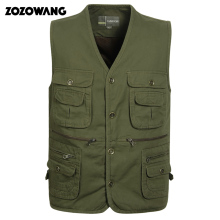 Male vest spring and autumn quinquagenarian male multi-pocket pure cotton waistcoat