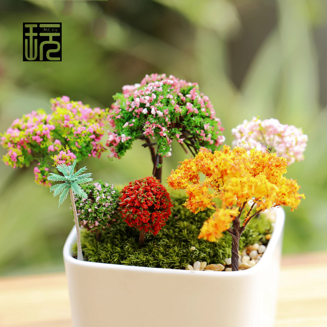 Sand Table Model DIY Micro Landscape Decorative Plastic Flowers Simulation Trees  Home Decoration Gardening Miniatures Wholesale