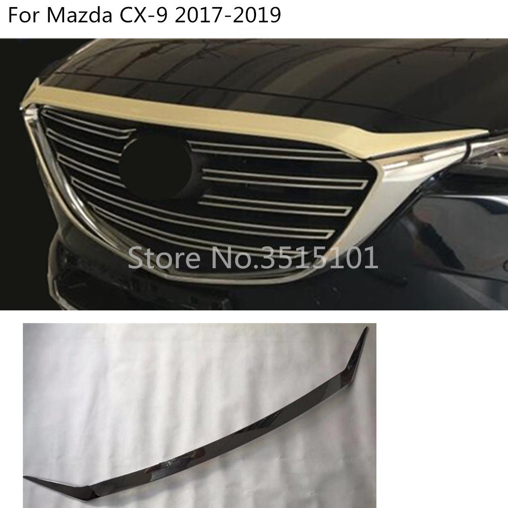 Car Cover Bumper Engine ABS Chrome Trim Front Grid Grill Grille Frame Edge 1pcs For Mazda CX-9 CX9 2017 2018 2019 2020