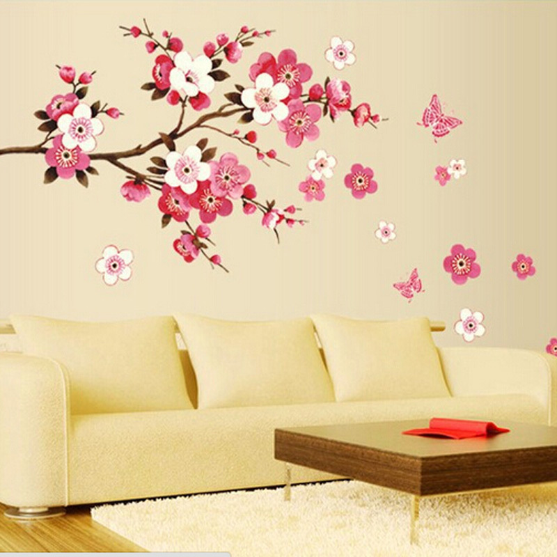 Aliexpress.com : Buy Removable PVC Flowers Peach Blossom Butterfly Home  Decor Art Wedding Room Girls Room Wall Stickers Decal Poster Drop Shipping  From ...