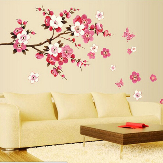 Removable PVC Flowers Peach Blossom Butterfly Home Decor Art Wedding Room  Girls Room Wall Stickers Decal