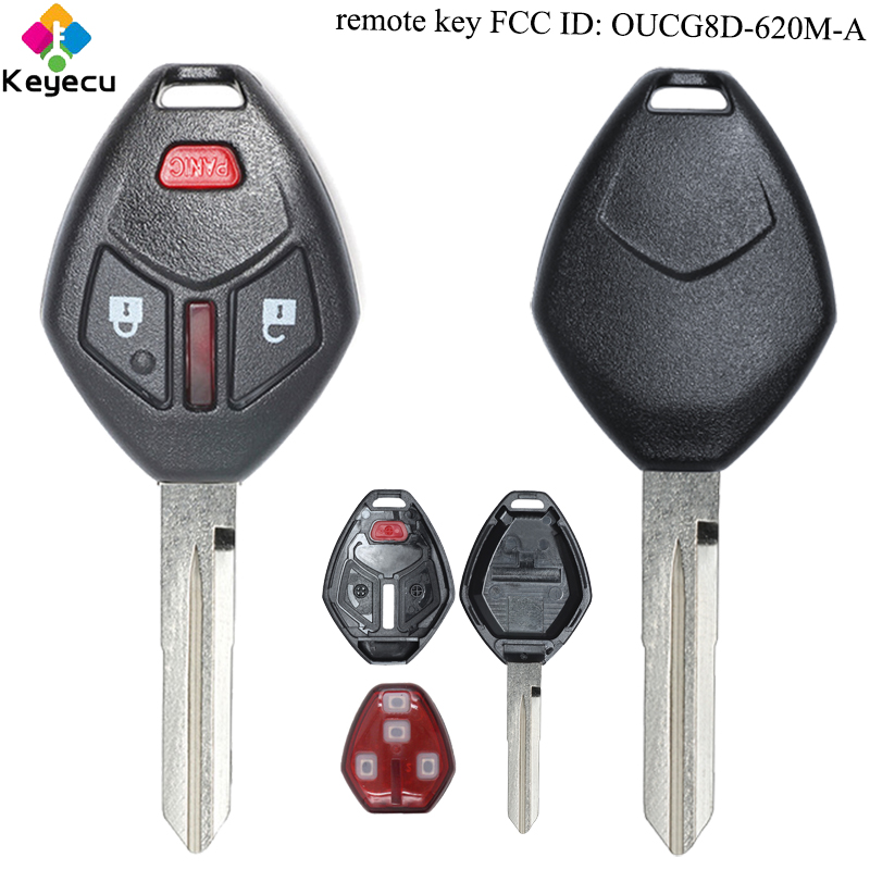 KEYECU Remote Control Car Key With 2 1/ 3 Buttons & 313.8MHz & ID46 Chip FOB for Mitsubishi Endeavor 2006 FCC ID: OUCG8D 620M A