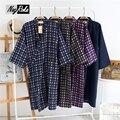Чистый хлопок кимоно халат Весна простой темный цвет мужской халат с длинным рукавом СПА повседневная халаты для мужчин Японский robes for мужчины