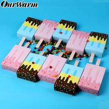 OurWarm 50pcs Ice Cream Gift box Baby shower Birthday Party Candy Shape Wedding Favor Box