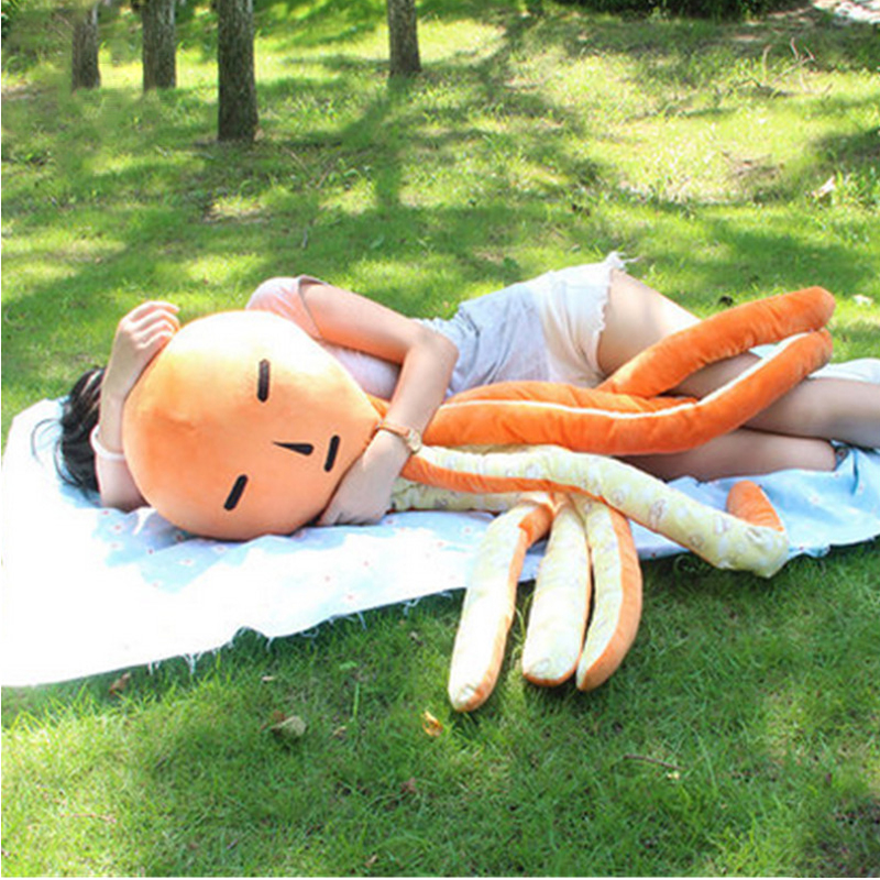 Fancytrader Emoji Anime Octopus Toy Giant 130cm Stuffed Funny Octopus Pillow Doll 51inch Gifts for Friends fancytrader new style giant plush stuffed kids toys lovely rubber duck 39 100cm yellow rubber duck free shipping ft90122